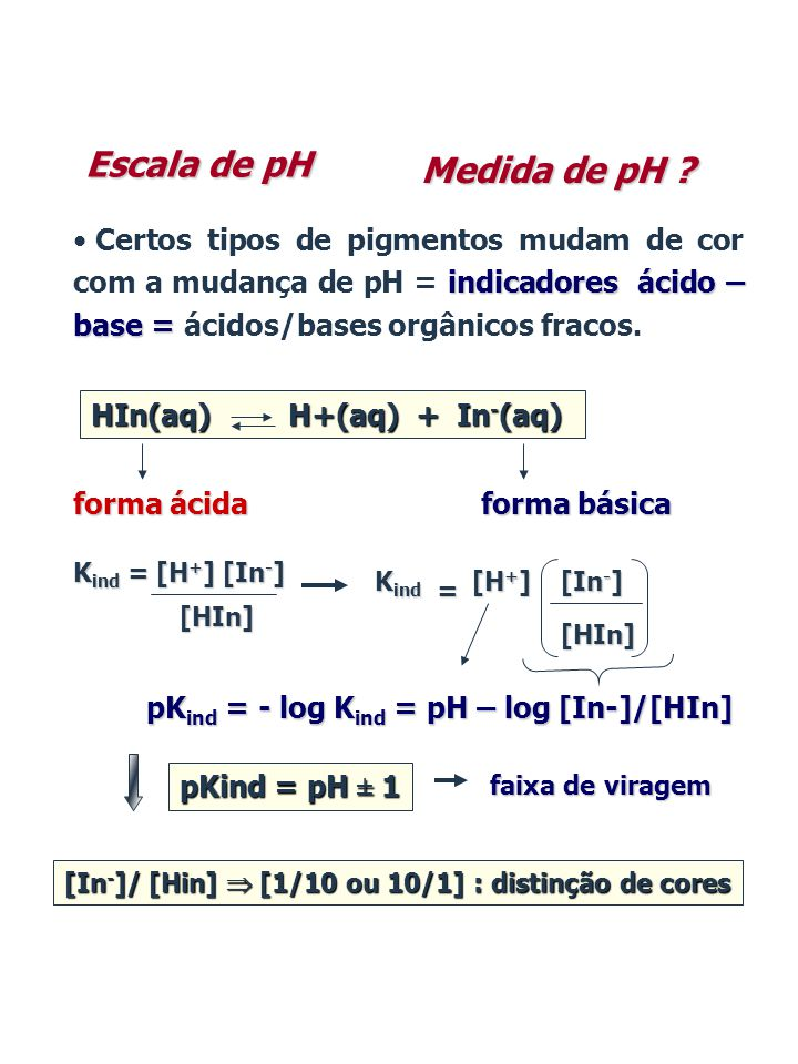 pKind = - log Kind = pH – log [In-]/[HIn]